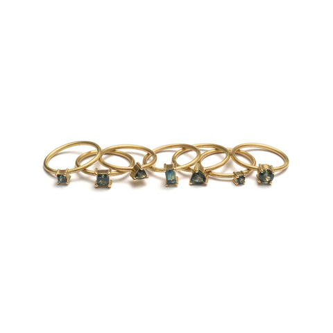 Yellow Gold Parti Sapphire Element Stacking Ring