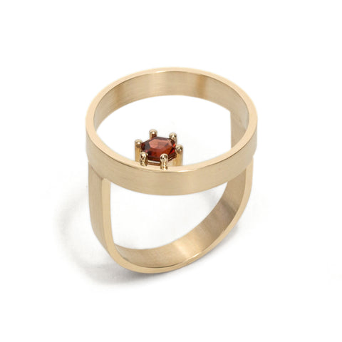Hexagonal Garnet Open Circle Ring