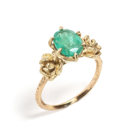 Emerald & Roses Ring