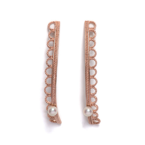 Frilly Line Pearl Earrings
