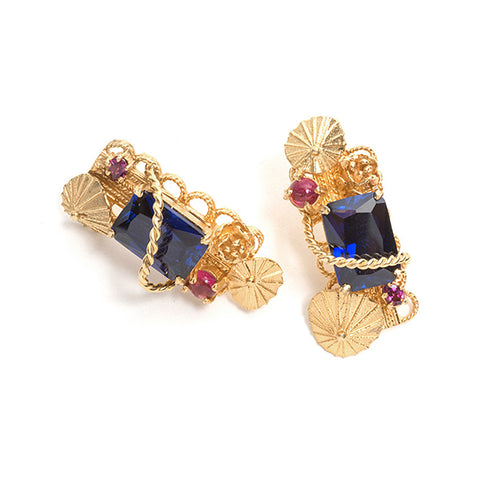 Baroque Sapphire Earrings by Nina Oikawa