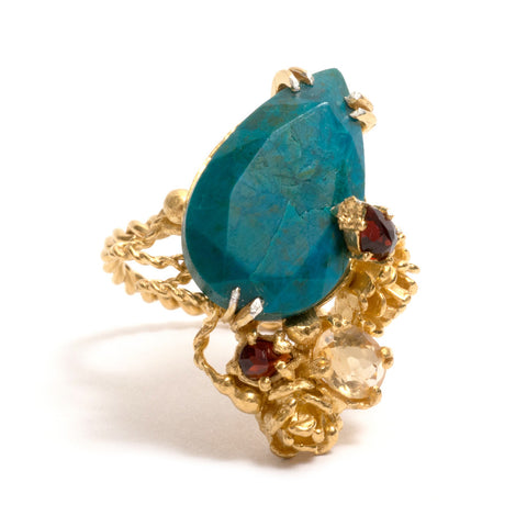 Blue Chrysocolla Ring by Nina Oikawa