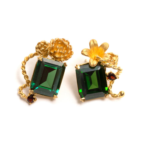 Botanical Emerald Earrings by Nina Oikawa