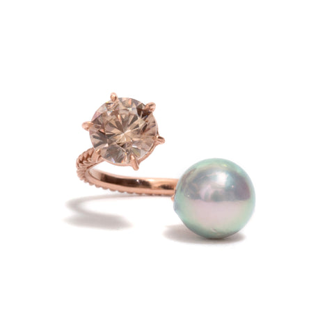 Pearl and Zircon Jewel Ring by Nina Oikawa