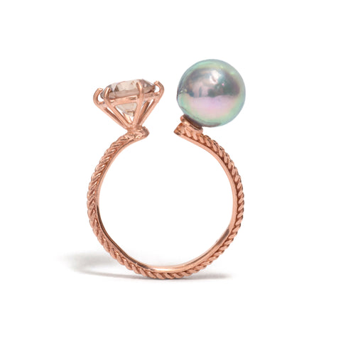Pearl and Zircon Jewel Ring