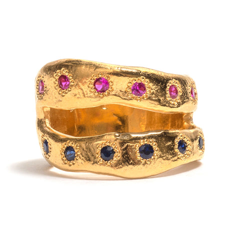 Ruby and Sapphire Side by Side Ring