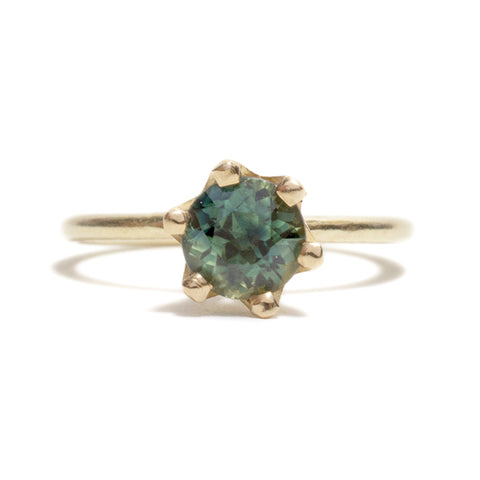 Parti Sapphire Solitaire Ring by Shimara Carlow