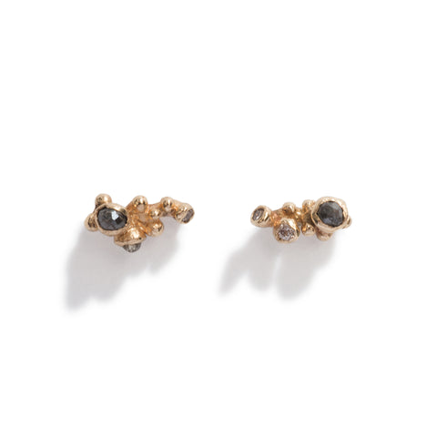 Champagne Diamond Cluster Stud Earrings by Ruth Tomlinson