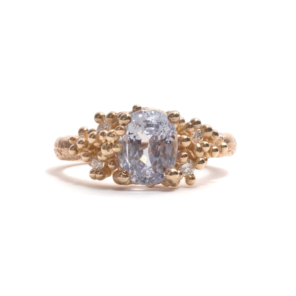 Grey Sapphire with Diamonds and Granules Ring