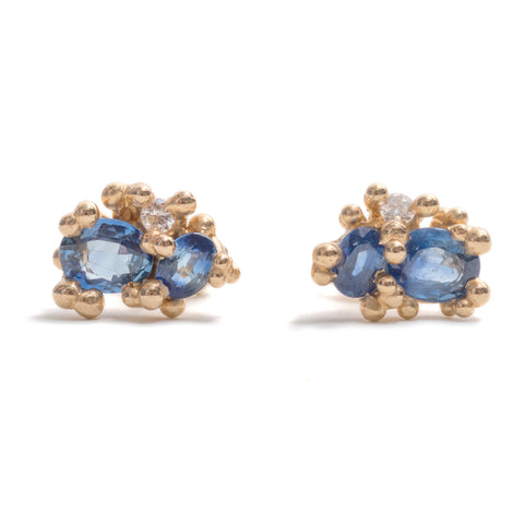Sapphire Studs with Diamonds