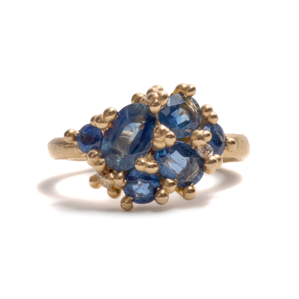 Sapphire Cluster with Diamonds Ring