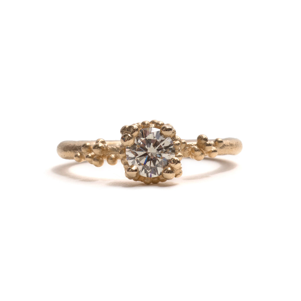 Solitaire Champagne Diamond with Granules Ring