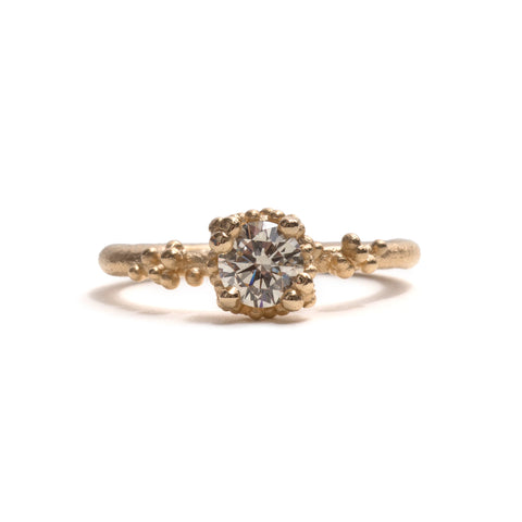 Solitaire Champagne Diamond with Granules Ring by Ruth Tomlinson