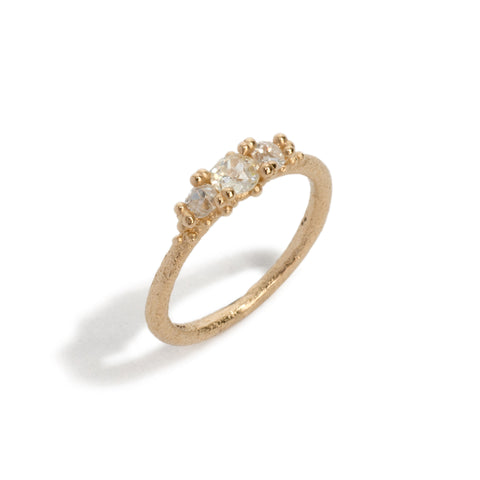 Three Stone Diamond Granules Ring