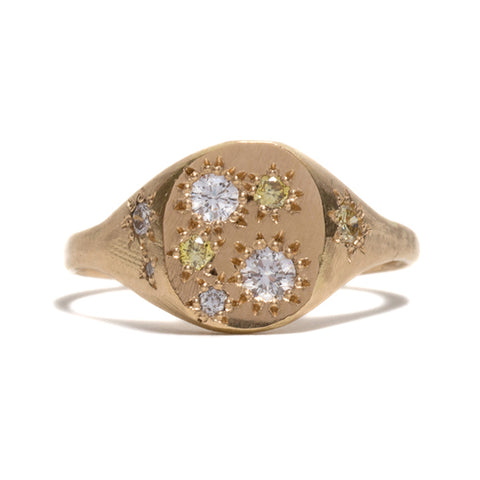 White and Yellow Diamond Neapolitan Signet Ring by Seb Brown