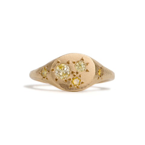 Yellow Diamond Oval Signet Ring by Seb Brown