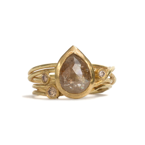 Dear Diamond Pear Wrap Ring by Shimara Carlow