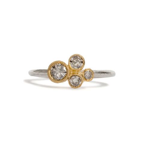 Dear Diamond Salt and Pepper Cluster Ring by Shimara Carlow