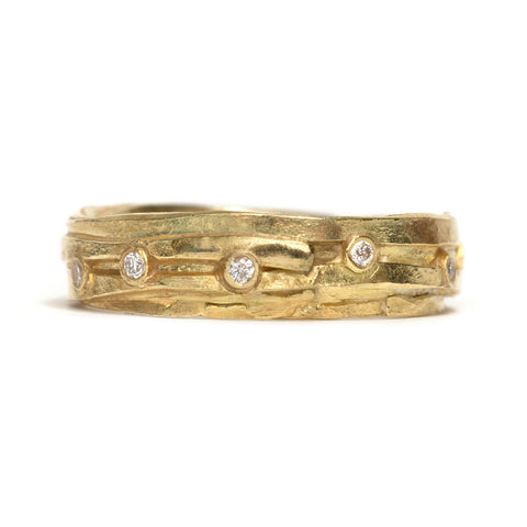 Fine Yellow Gold and Diamond Wrap Ring by Shimara Carlow