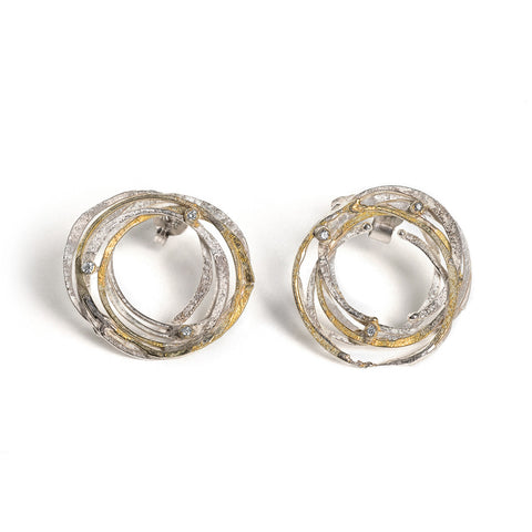 Gold and Silver Wrap Stud Earrings