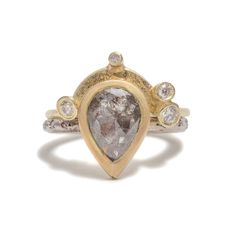Salt & Pepper Pear Diamond Ring by Shimara Carlow