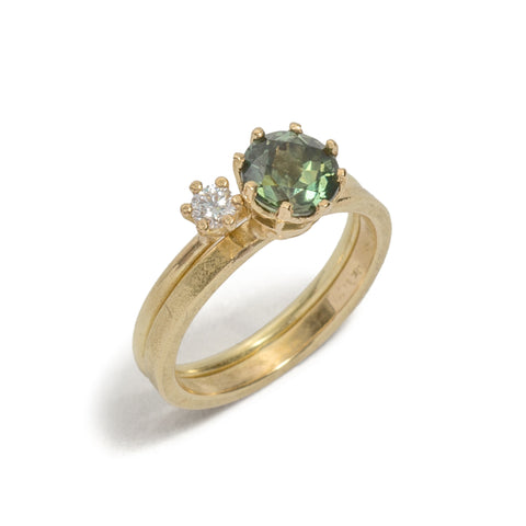 Set of Two Green Sapphire & Diamond Ring