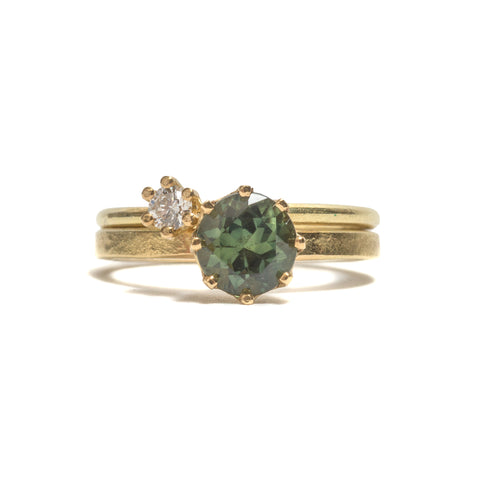 Set of Two Green Sapphire & Diamond Ring by Shimara Carlow