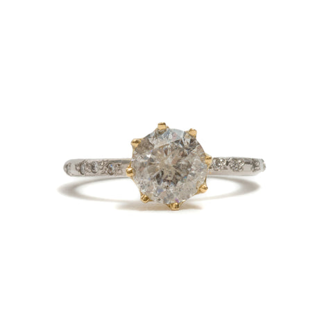 Salt and Pepper Solitaire Ring