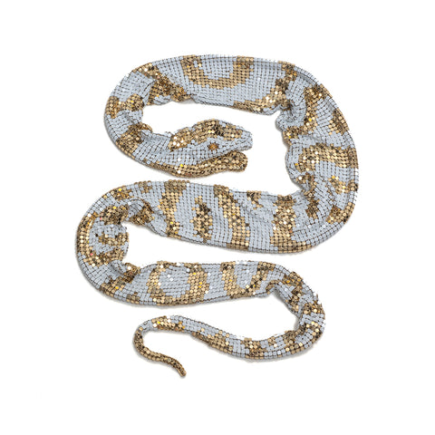 White & Gold Python Neckpiece by Sian Edwards