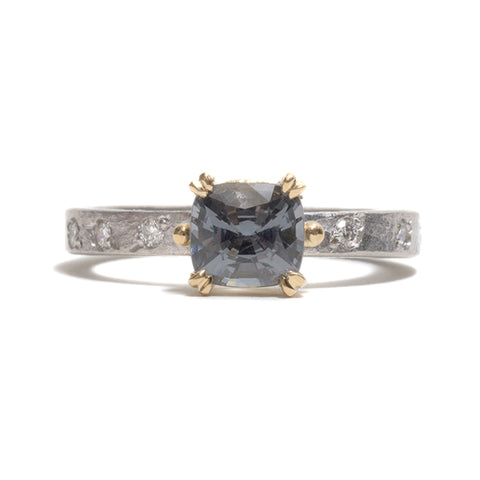 Cushion Cut Spinel and Diamond Ring by Shimara Carlow