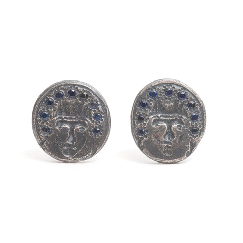 St Catherine Sapphire Stud Earrings by Suzi Zutic