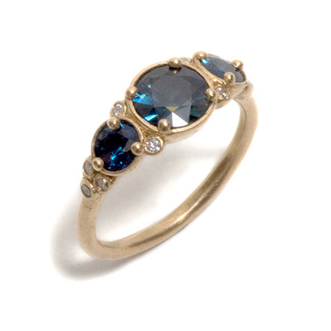 Fine Blue Sapphire and Diamond Ring