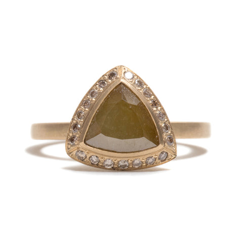 Opaque Yellow Diamond Halo Ring