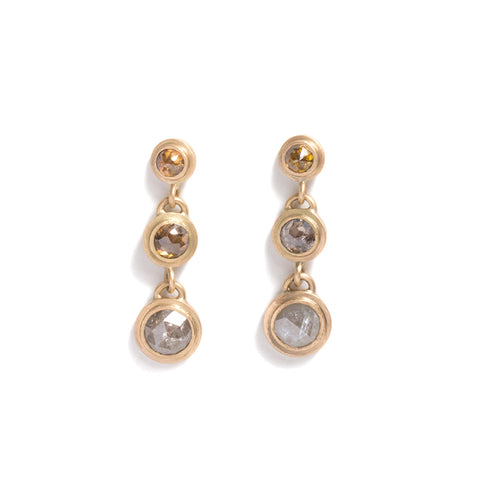 Three Tier Multicolour Icy Diamond Earrings by Suzi Zutic