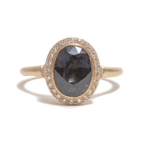 Violet Grey Spinel Ring