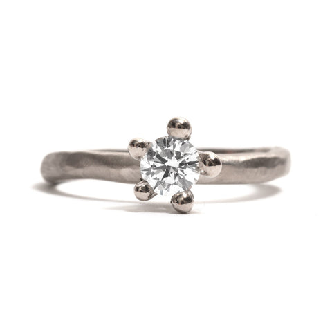White Gold Bloom Diamond Solitaire Ring by Taë Schmeisser