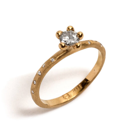 Yellow Gold Bloom Diamond Solitaire Ring