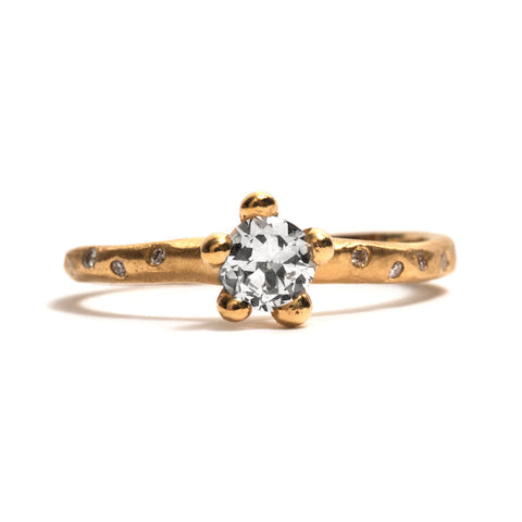 Yellow Gold Bloom Diamond Solitaire Ring by Taë Schmeisser