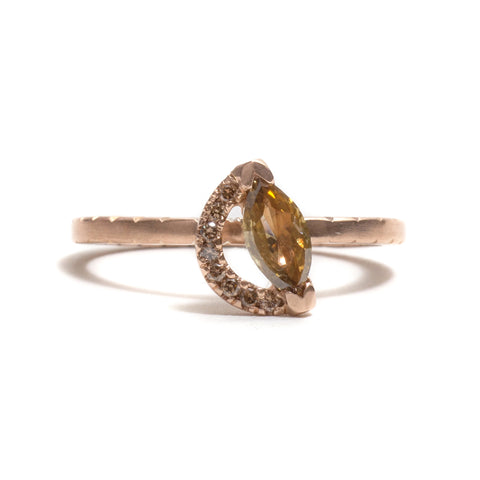Marquise Diamond Crescent Ring by Tara Lofhelm