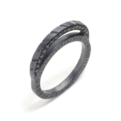 Dark Diamond Moon Ring