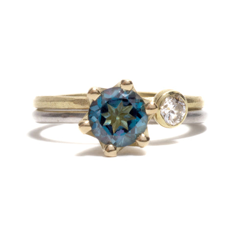 London Blue Topaz & Diamond Ring by Shimara Carlow