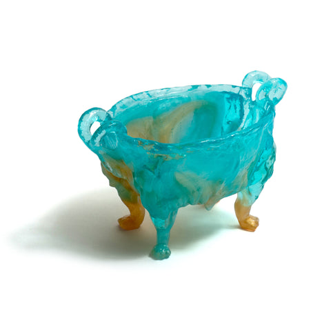 Medium Paw Bowl (Blue & Bronze)