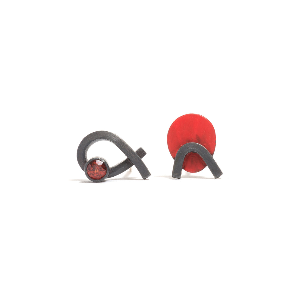 Orbit A Garnet Stud Earrings