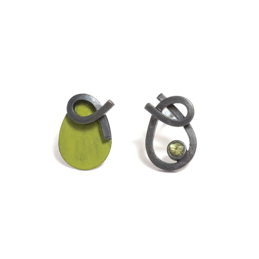 Orbit B Peridot Earrings