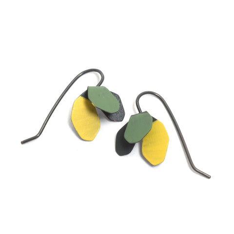 Green Toned Painted Petal Earrings