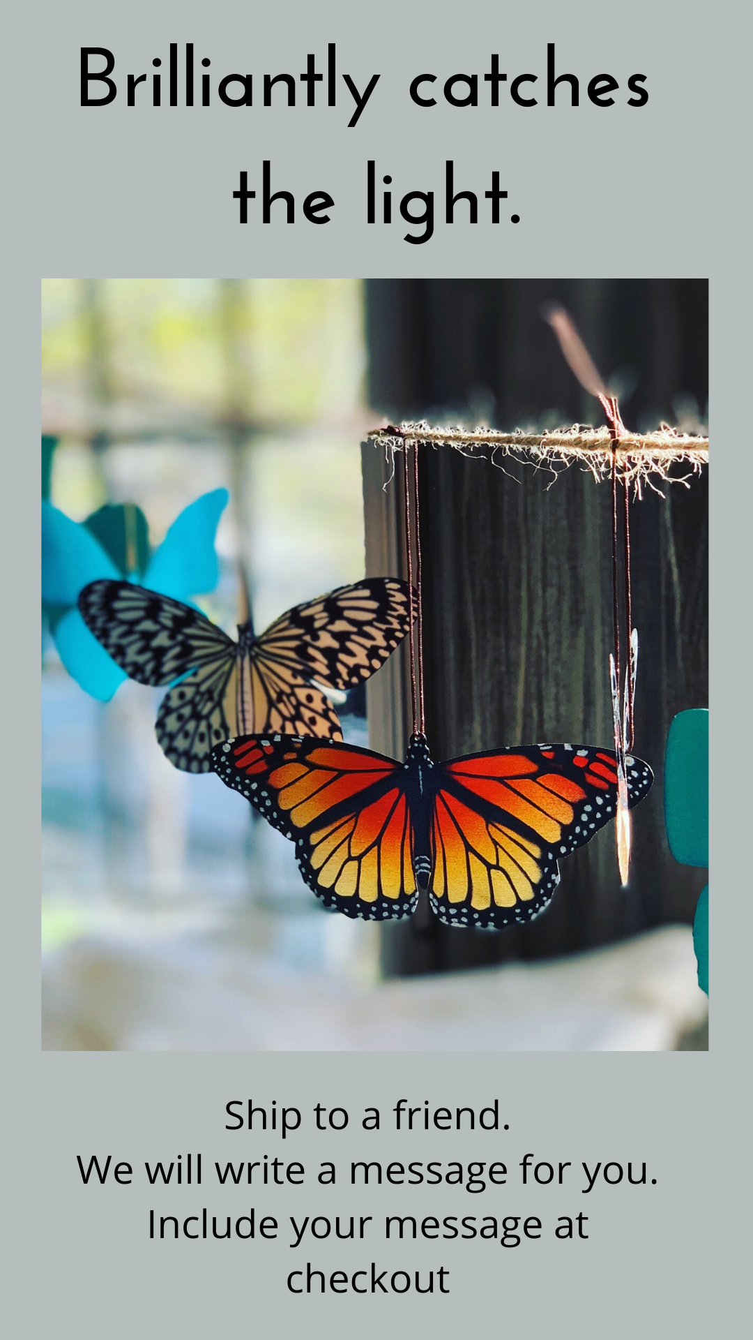 Bronze ornament butterfly notecard gift monarch home decor