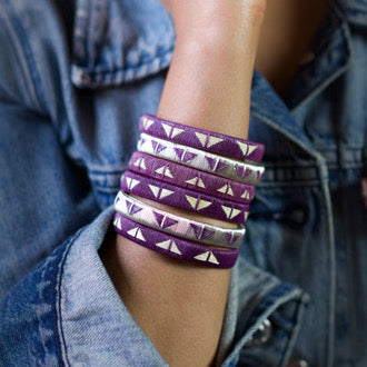 Silver Purple bangle bracelets colombia wounaan butterfly ethical sustainable jewelry fashionista casual luxury paired with denim jacket