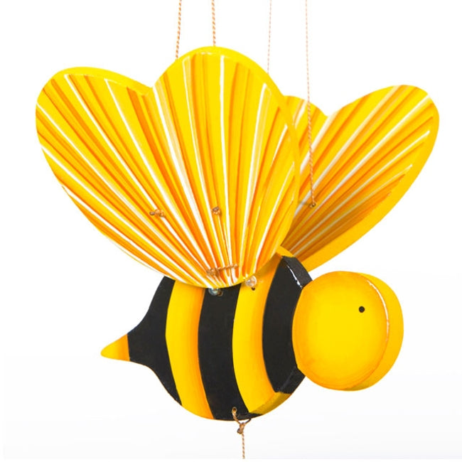 Bumble Bee Flying Mobile - Ethical Handmade Gift - Pollinator Home Decor. Hand-painted in Colombia
