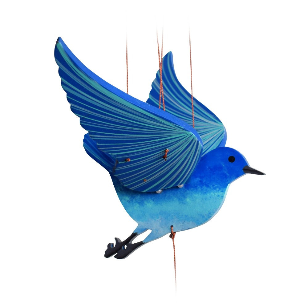 Blue Bird of Happiness Flying Mobile ethical home decor handmade in Colombia. Painted wood mobile