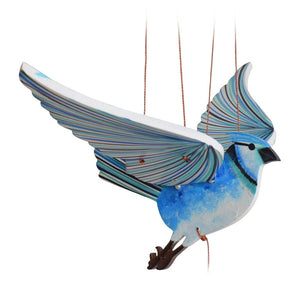 Blue Jay Flying Mobile. Ethical Home Decor. Handmade in Colombia. Hand-painted wooden mobile.